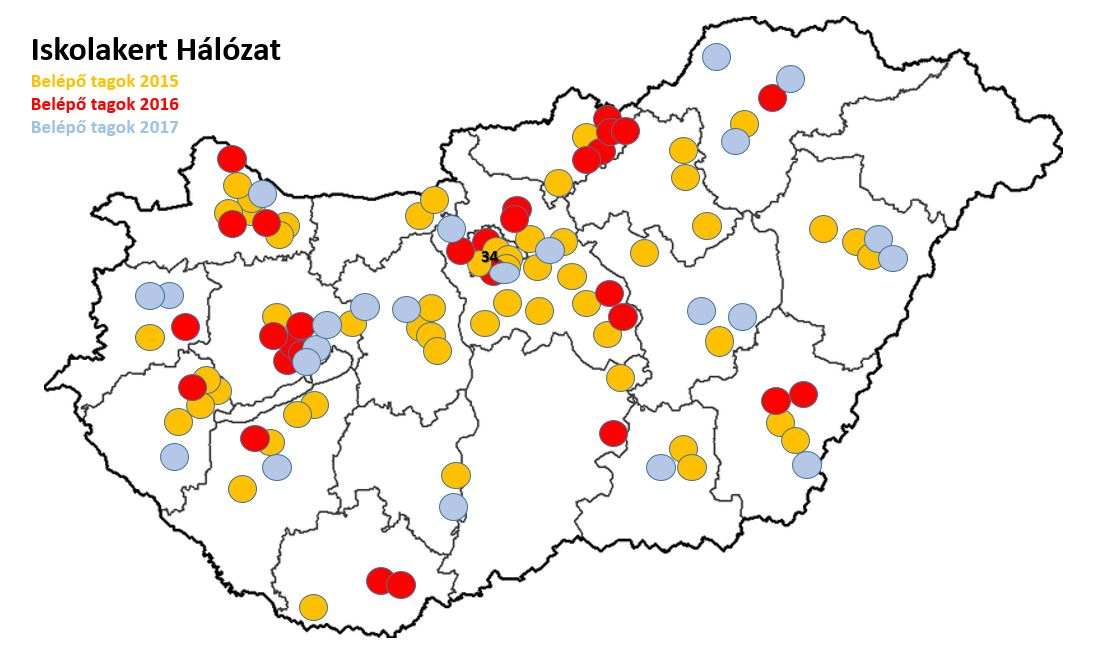 Schoolgarden network (Hungary) Joining members in 2015, 2016 and 2017 (Resource: http://www.iskolakertekert.hu/iskolakert-halozat/tagok )